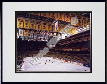Boston Garden NHL Double Matted 8 X 10 Photograph in Black Anodized Aluminum Frame