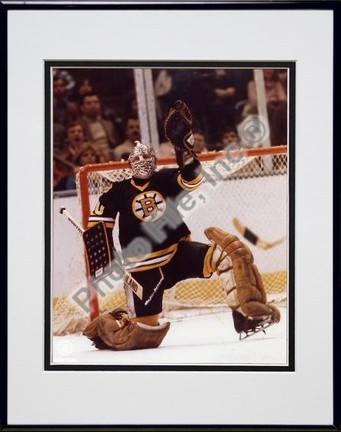 Gerry Cheevers Save Double Matted 8 X 10 Photograph in Black Anodized Aluminum Frame