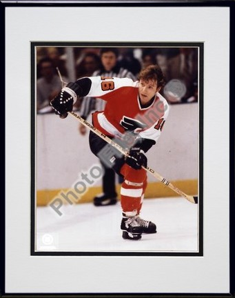 Bobby Clarke Action Double Matted 8 X 10 Photograph in Black Anodized Aluminum Frame