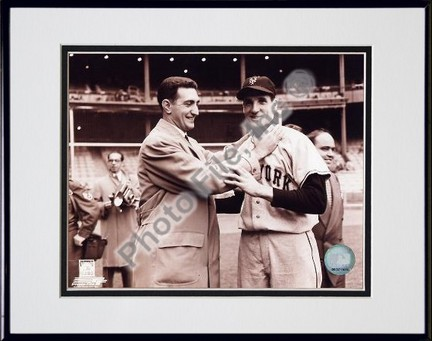 Ralph Branca and Bobby Thomson Choking Double Matted 8 X 10 Photograph in Black Anodized Aluminum Frame