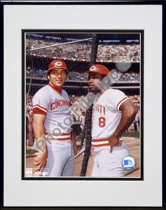 Johnny Bench and Joe Morgan Double Matted 8 X 10 Photograph in Black Anodized Aluminum Frame