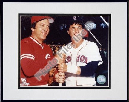 Johnny Bench and Carl Yastrzemski Double Matted 8 X 10 Photograph in Black Anodized Aluminum Frame