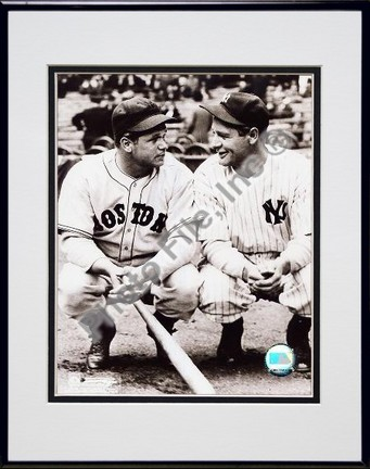 """Jimmie Foxx and Lou Gehrig Double Matted 8"""" X 10"""" Photograph in Black Anodized Aluminum Frame"""
