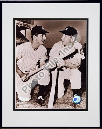 """Billy Martin and Mickey Mantle Double Matted 8"""" X 10"""" Photograph in Black Anodized Aluminum Frame"""
