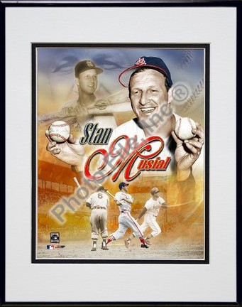 Stan Musial Legends Composite Double Matted 8 X 10 Photograph in Black Anodized Aluminum Frame
