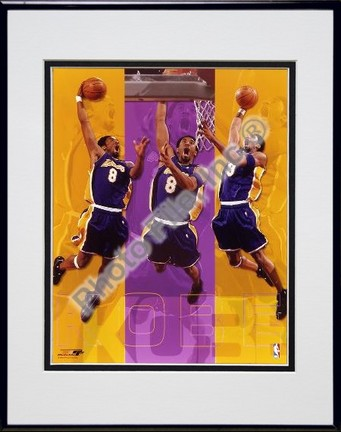 "Kobe Bryant """"Triple Composite"""" Double Matted 8"""" X 10"""" Photograph in Black Anodized Aluminum Frame"" PHF-AAEH009-37"