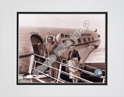 "Babe Ruth ""Retired #2 Boarding Plane"" Double Matted 8"" X 10"" Photograph (Unframed)"