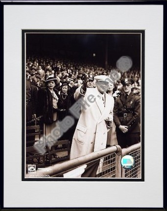 """Babe Ruth """"Retired"""" Double Matted 8"""" X 10"""" Photograph in Black Anodized Aluminum Frame"""