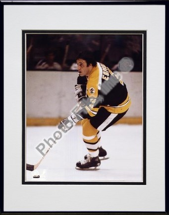 """Phil Esposito (Boston Bruins) """"Action"""" Double Matted 8"""" X 10"""" Photograph in Black Anodized Aluminum"""