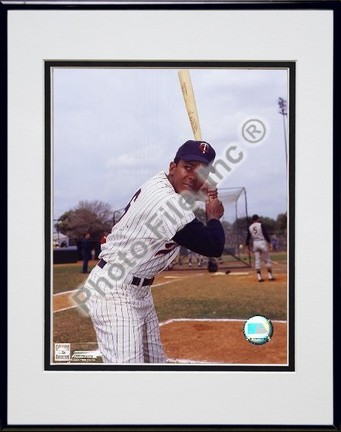 Tony Oliva With Bat Double Matted 8 X 10 Photograph in Black Anodized Aluminum Frame