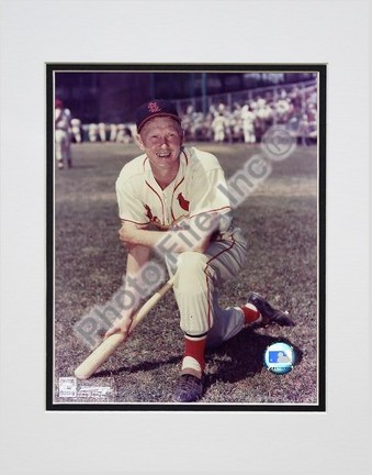 """Red Schoendienst """"Kneeling with Bat"""" Double Matted 8"""" X 10"""" Photograph (Unframed)"""