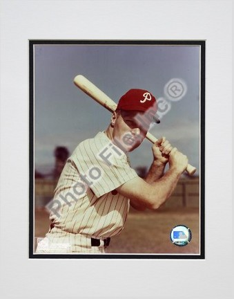 "Richie Ashburn ""With Bat"" Double Matted 8"" X 10"" Photograph (Unframed)"