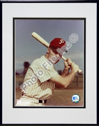Richie Ashburn With Bat Double Matted 8 X 10 Photograph in Black Anodized Aluminum Frame