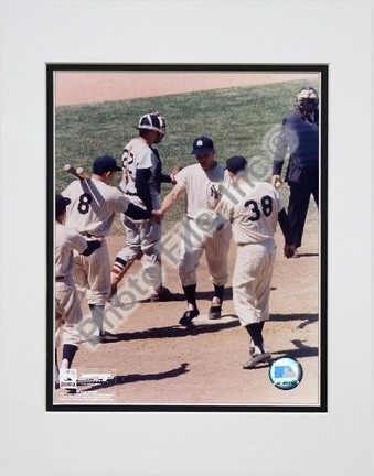 """Roger Maris """"#6 Shaking Hands at Homeplate"""" Double Matted 8"""" X 10"""" Photograph (Unframed)"""