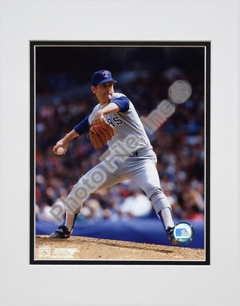 "Nolan Ryan Texas Rangers ""Pitching Blue Uniform"" Double Matted 8"" X 10"" Photograph (Unframed)"