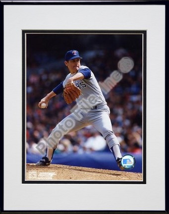 Nolan Ryan Texas Rangers Pitching Blue Uniform Double Matted 8 X 10 Photograph in Black Anodized Aluminum Frame