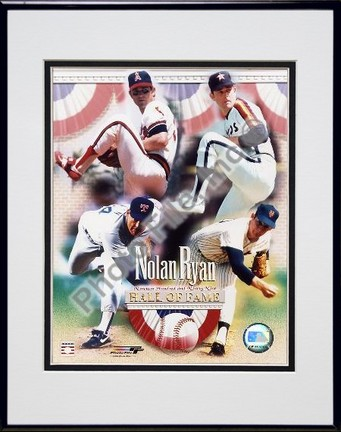 Nolan Ryan 4 Team Career Hall Of Fame Composite Double Matted 8 X 10 Photograph in Black Anodized Aluminum Frame