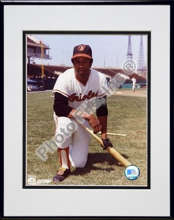 """Frank Robinson Baltimore Orioles """"Kneeling with Bat"""" Double Matted 8"""" X 10"""" Photograph in Black Anod"""