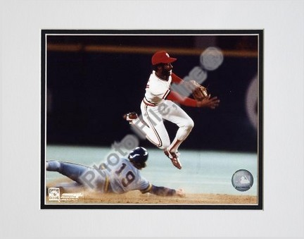"""Ozzie Smith """"Turning Double Play"""" Double Matted 8"""" X 10"""" Photograph (Unframed)"""