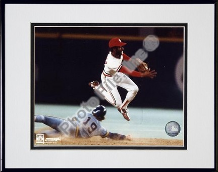 Ozzie Smith Turning Double Play Double Matted 8 X 10 Photograph in Black Anodized Aluminum Frame