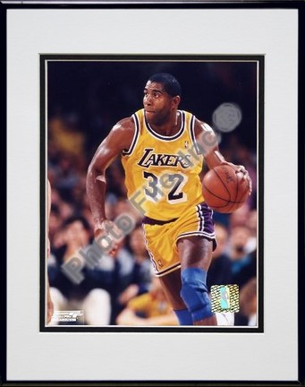 Magic Johnson Ball in Left Hand Double Matted 8 X 10 Photograph in Black Anodized Aluminum Frame