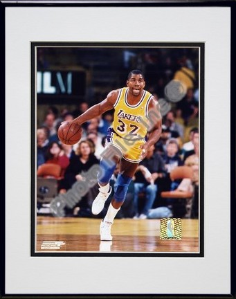 Magic Johnson Ball in Right Hand Double Matted 8 X 10 Photograph in Black Anodized Aluminum Frame