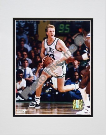 "Larry Bird ""Ball in Both Hands"" Double Matted 8"" X 10"" Photograph (Unframed)"