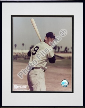 Ted Williams Bat on Shoulder Double Matted 8 X 10 Photograph in Black Anodized Aluminum Frame