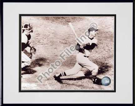 """Ted Williams """"Looking Up"""" Double Matted 8"""" X 10"""" Photograph in Black Anodized Aluminum Frame"""