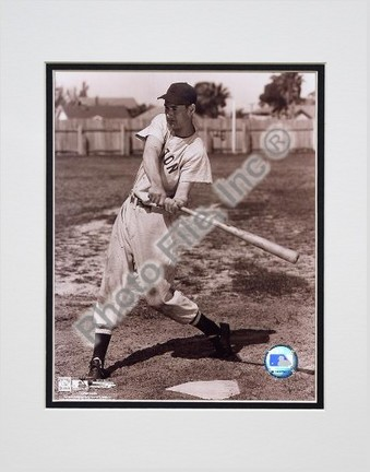 """Ted Williams """"Sepia Swinging"""" Double Matted 8"""" X 10"""" Photograph (Unframed)"""
