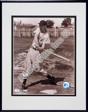 Ted Williams Sepia Swinging Double Matted 8 X 10 Photograph in Black Anodized Aluminum Frame