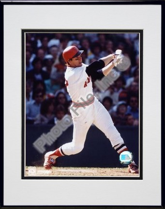 Carlton Fisk Swinging Double Matted 8 X 10 Photograph in Black Anodized Aluminum Frame