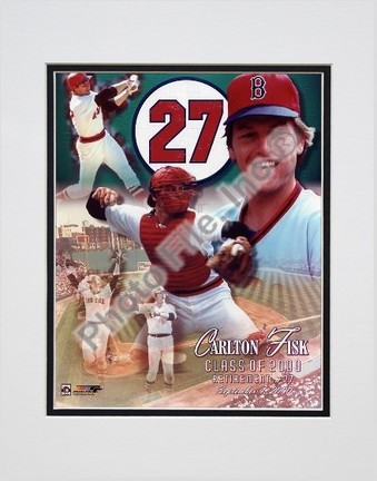 """Carlton Fisk """"Uniform #27 Retirement Day 2000 Collage"""" Double Matted 8"""" X 10"""" Photograph (Unframed)"""