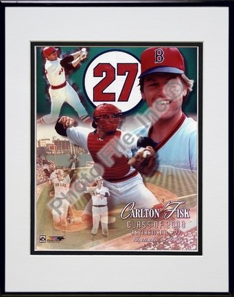 Carlton Fisk Uniform #27 Retirement Day 2000 Collage Double Matted 8 X 10 Photograph in Black Anodized Aluminum Frame