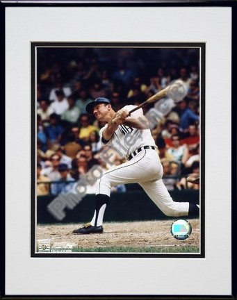 Al Kaline Full Swing Double Matted 8 X 10 Photograph in Black Anodized Aluminum Frame