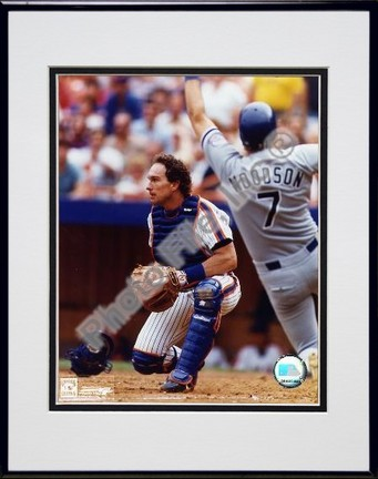 Gary Carter Catchers Gear Double Matted 8 X 10 Photograph in Black Anodized Aluminum Frame