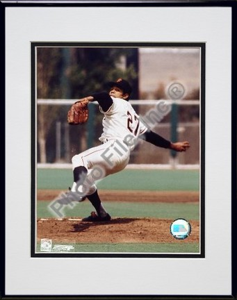 Juan Marichal Ready to Pitch Double Matted 8 X 10 Photograph in Black Anodized Aluminum Frame