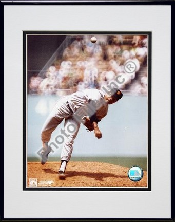 Juan Marichal Pitching Double Matted 8 X 10 Photograph in Black Anodized Aluminum Frame