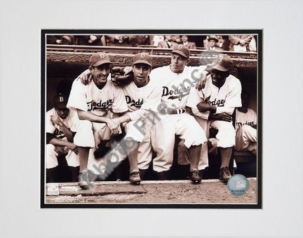 """Jackie Robinson """"First Day, with Spider Jorgenson, Pee Wee Reese, Ed Stankey"""" Double Matted 8"""" X 10"""""""