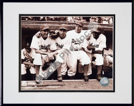 Jackie Robinson First Day with Spider Jorgenson Pee Wee Reese Ed Stankey Double Matted 8 X 10 Photograph in Black Anodized Aluminum Frame