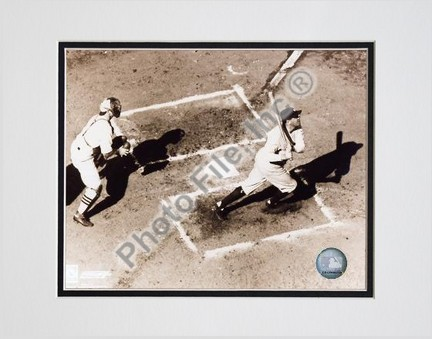 """Babe Ruth """"Homeplate Action, Sepia"""" Double Matted 8"""" X 10"""" Photograph (Unframed)"""