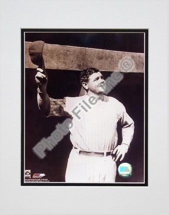 """Babe Ruth """"Tipping Cap, Sepia"""" Double Matted 8"""" X 10"""" Photograph (Unframed)"""