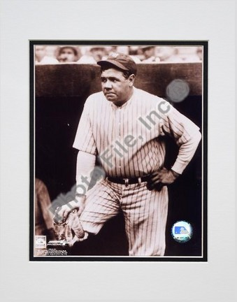 """Babe Ruth """"In Dugout, Sepia"""" Double Matted 8"""" X 10"""" Photograph (Unframed)"""