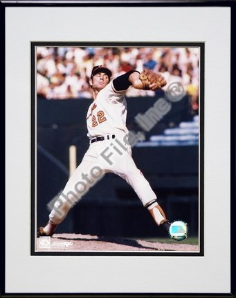 """Jim Palmer """"Pitching, Arm Back"""" Double Matted 8"""" X 10"""" Photograph in Black Anodized Aluminum Frame"""