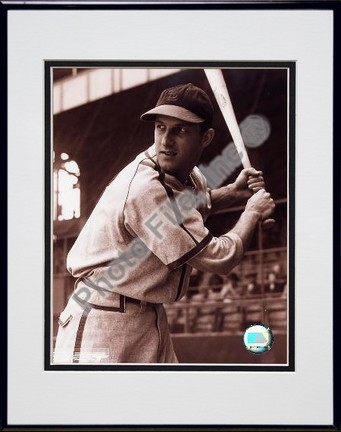 Stan Musial Batting Stance Posed Sepia Double Matted 8 X 10 Photograph in Black Anodized Aluminum Frame