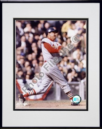 Stan Musial Batting Double Matted 8 X 10 Photograph in Black Anodized Aluminum Frame