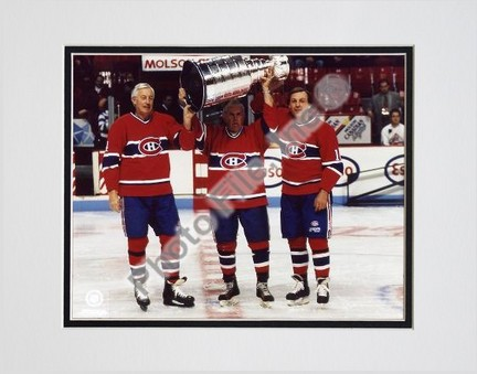 "Jean Beliveau, Henri Richard and Guy Lafleur """"Holding Stanley Cup"""" Double Matted 8"""" X 10"""" Photograph (Unframed)"" PHF-AAEO011-33"