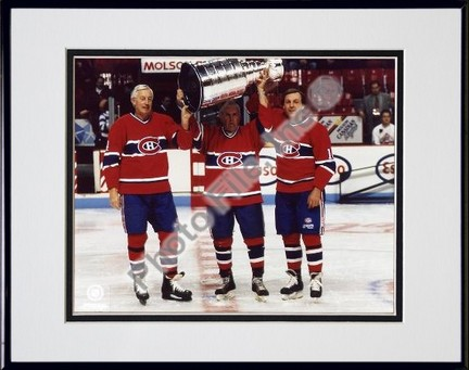 Jean Beliveau Henri Richard and Guy Lafleur Holding Stanley Cup Double Matted 8 X 10 Photograph in Black Anodized Aluminum Frame