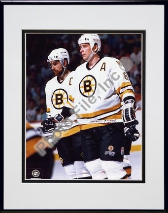Cam Neely and Ray Bourque Double Matted 8 X 10 Photograph in Black Anodized Aluminum Frame
