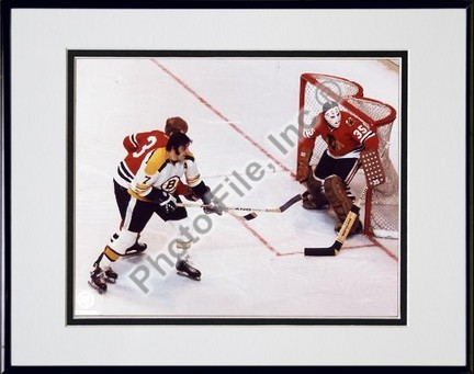 """Phil Esposito and Tony Esposito """"Action"""" Double Matted 8"""" X 10"""" Photograph in Black Anodized Aluminu"""